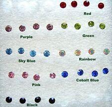 Bioflex No Allergy Earrings ONE PAIR 3.7 mm Stud Post Pink Crystal