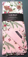 NWT Ralph Lauren Home Set of 2 Kitchen Towels Cream Pine Cone Berries Christmas