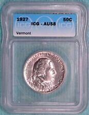 1927 AU-58 Vermont Almost Uncirculated Unc Commemorative Silver