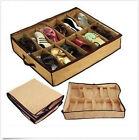 12Pair Holder Tidy Fabric Bag Intake Under Bed Closet Shoe Storage Box Organizer