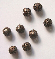 6mm antique copper filigree round spacer beads plated  - 100  pieces