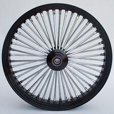 """Black/Chrome 48 King Spoke 21x3.5"""" SD Front & 16x3.5"""" Rear Wheel Set for Harley"""