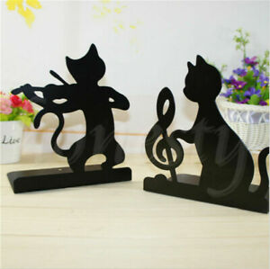 1PC Black Musical Note Cute Cat Anti-skid Bookends Metal Shelf Book Case Holder