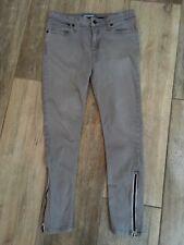 Betabrand Gray Stretch Denim Super Skinny Jeans Ankle Zip Pockets Sz 27