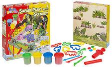 25pc Kids Play Set vasche & plasmare artigianato IMPASTO SAFARI PARK scenari Bambini Natale