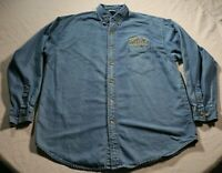 Vintage 90s St. Louis Rams Long Sleeve Denim Shirt NFL Super Bowl Los Angeles LA