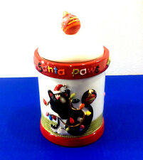 New listing Ceramic Cat Treat Canister Santa Paws Christmas Holiday Dullards Trimmery