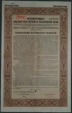 Internationale Anleihe Republik Österreich 7 % 1000 CHF 1930 mit Restkupon