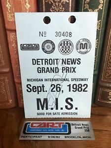 Vintage 1982 DETROIT NEWS 150 Indy Car CART TICKET STUB & PARTICIPANT PLAQUE MIS