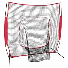 7'×7' Softball Baseball Practice Net Hitting Batting Bow Frame Training with Bag
