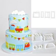 4pc Plastic Train Fondant Cake Cutter Cookie Mold Sugarcraft Decorating Mould