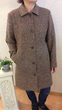 L L Bean Coat Jacket Women's Wool Tweed Lined Sz 12 P Brown Button Pockets #wd