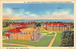 MADISON WI~UNIVERSITY WISCONSIN~MENS DORMITORIES~LOT OF 2 1930-40s POSTCARDS