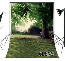 Big old Tree Spring Green Grass Scenic Vinyl Studio Backdrop Background 5x7FT LB