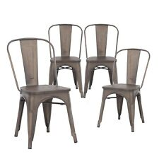 Set of Four Bronze Wooden Seat Metal Indoor/Outdoor Stackable Chairs with Back