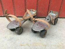 ANCIENNE PAIRE PATINS A ROULETTES MARQUE OLYMPIC OLD PAIR FRENCH ROLLER SKATES