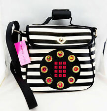 "** BETSEY JOHNSON ""Call me Baby"" Cream & Black Leather Cross-Body Bag Msrp $98"