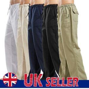 Men's Beach Loose Cargo Sweat Summer Pants Yoga Drawstring Elasticated Trousers