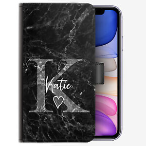 Grey Initial Phone Case, Personalised Name Heart Black Marble PU Leather Cover