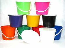 6 80 Ounce Plastic Buckets Handles Lids Made in Usa Lead Free No Bpa Non Toxic