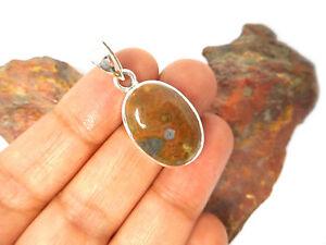 Rainforest  JASPER   Sterling Silver   925  Gemstone  PENDANT  -   Gift  Boxed
