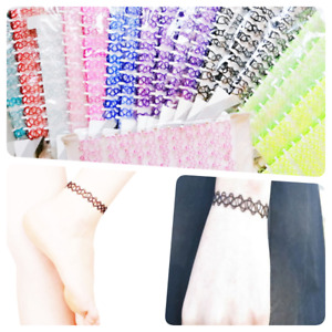 Stretch Tattoo bracelet anklet colourful Hippy Statement Jewelry Punk Elastic UK