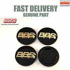 4x Genuine BBS Center Caps 70.6mm Black and Gold 3D RS RM RX 3 Prong NEW