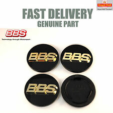 4x Genuine BBS Center Caps 70.6mm Black and Gold 3D RS RM 3 Prong NEW