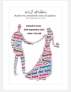 "Personalised Wedding/Nikah Islamic Word Art  Gift Present Photo Print 7""x5"""