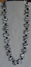 PEACOCK BIWA PEARLS AND BLACK CRYSTAL BEAD NECKLACE  NEW