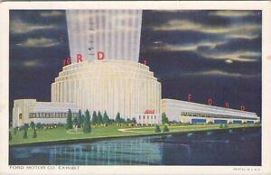 Linen postcard, 1934 - Ford Motor Exhibit, Chicago Worlds Fair
