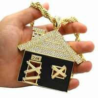 Mens 14k Gold Plated Huge Trap House  Pendant / 10mm 24 inch Rope Chain (B)