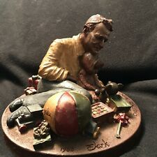 """Signed by artist Tom Clark 1988 Retired """"Christmas Morning"""" Clay Figurine"""