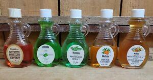 5 Vintage Watkins 2 fl oz Extracts Orange Cinnamon Wintergreen Lime Mixed Fruits
