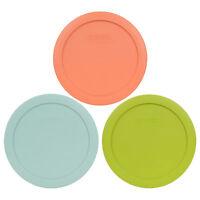 Pyrex 7201-PC 4 Cup Orange, Aqua, & Green Round Plastic Lids for Glass Bowl 3PK