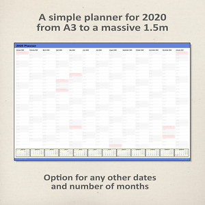 Simple 2020 Wall Planner / Calendar BLUE - choice of 5 sizes, ship folded/rolled