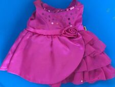 Retired BUILD A BEAR ROSE PINK SATIN SEQUINED Party Dress BABW