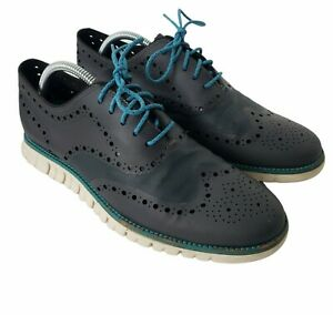 Cole Haan Zero Grand No Stitch Wingtip Oxford Ripstop Shoes Blue Lace Up Mens 9M