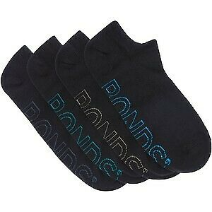 12 X Bonds No Show Light Weight Socks - Mens Ankle Sport Socks Black 02K
