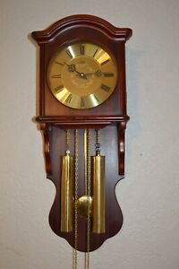 A GOOD QUALITY AMS WEIGHT DRIVEN 8 DAY BIM BAM CHIME WALL CLOCK *SERVICED*