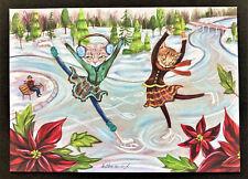 New listing Cat Christmas Card ONE 5x7 Tabby Ice Skating Poinsettia Winter Holiday Season