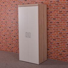 2 Door Double Wardrobe in White & Sonoma Oak Effect - Bedroom Furniture Cupboard