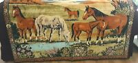 """Vintage Large Tapestry Wall Hanging Horses Country Scene Carpet 71"""" W x 46"""" Tall"""