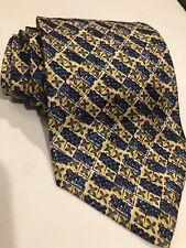IRVINE PARK Mens Neck Tie Necktie 100% Silk Blue and Yellow Gold 43170