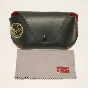 Ray Ban Sunglass Snap Pouch Case Black Outer Red Interior + Microfiber Cloth
