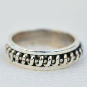 925 Sterling Silver Spinner Ring Meditation Thumb Ring Handmade Designer Ring
