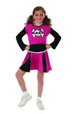 Pink Cheerleader Costume Skull Crossbones Halloween Costume Dress Sz L 12-14