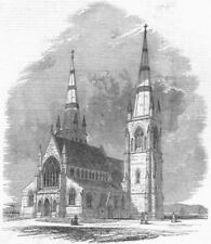 CANADA. Fredericton Cathedral, New Brunswick, antique print, 1849