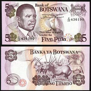 Botswana 5 pula 1992 President Masire & Helmeted Guinea Fowl Bird P11a UNC