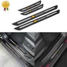 4x Chevrolet Carbon Fiber Car Door Welcome Plate Sill Scuff Cover Panel Sticker